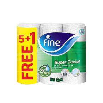 Fine Household Towel 60 Sheets X 2Ply Pack Of 6