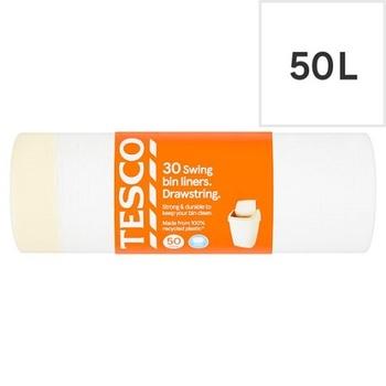 Tesco Drawstring Swing Bin Liners 30s (50L)