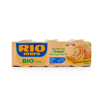 Rio Mare Light Meat Tuna in Organic Extra Virgin Olive Oil 65 g Pack of 3