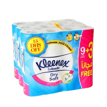 Kleenex Roll Toilet Tissue White 3 x 12 rolls @ 15.00 Dhs Off