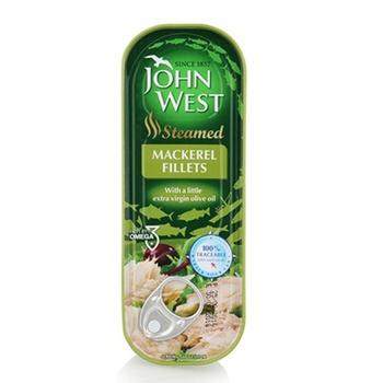 John West Steam Cooked Mackerel Fillets In Virgin Olive Oil 110g