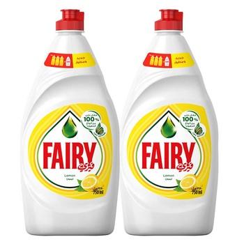 Fairy Lemon Dishwashing Liquid 750ml Pack Of 2