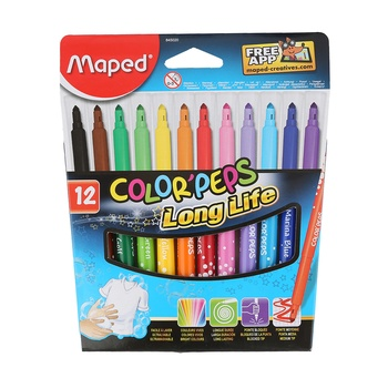 Maped Color Peps Felt Tip Color Pens- 12 Color Box