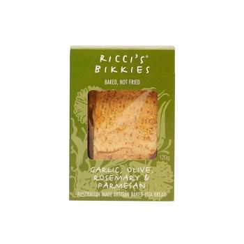 Riccis Bikkies Garlic Olive Rosemary And Parmesan Artisan Baked Pita Bread 120g