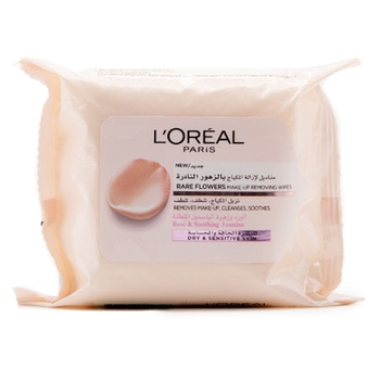 L'Oreal Paris Rare Flowers Cleansing Wipes Dry and Sensitive Skin. 25 Sheets
