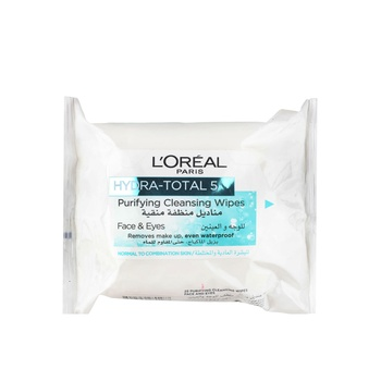 Loreal Dermo Expertise Hydra Total 5 Facial Cleansing 25 Wipes Green