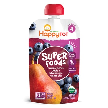 Happy Tot Organics Superfoods Stage 4 Organic Pears, Beets, Blueberries + Super Chia 120g Pouch