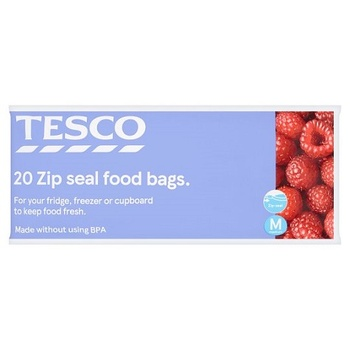 Tesco Zipper Seal Food & Freezer Bag Medium 20S