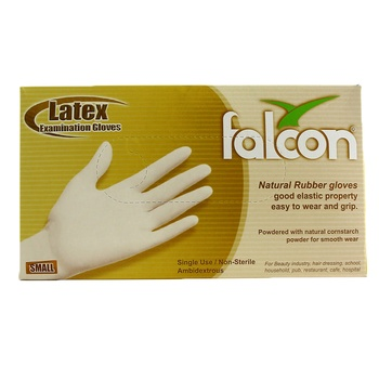 Falcon Natural Rubber Gloves Small 100pcs