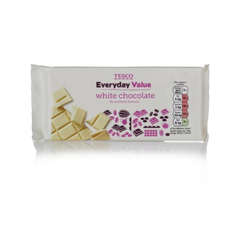 Tesco Everyday Value White Chocolate Bar 100g