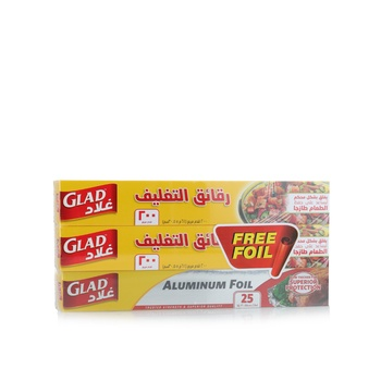 Glad Cling Wrap 2 X 200Sq. Ft. + Aluminium Foil 25 Sq. Ft. Free