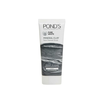 Ponds Pure White Mineral Clay Face Cleanser Daily Scrub with Charcoal 90g