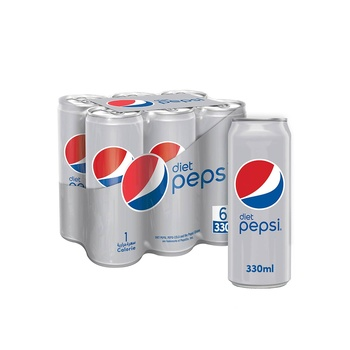 Pepsi diet carbonated can soft drinks 330ml pack of 6