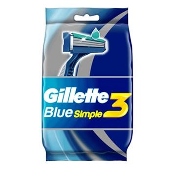 Gillette Blue Simple3 Men's Disposable Razors 4+1 Count