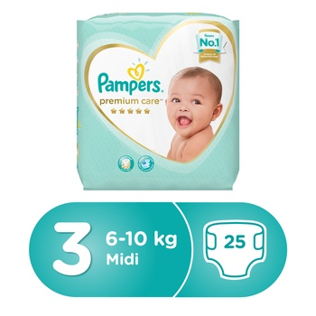 Pampers Premium Care Diapers  Size 3  Midi  5-9 kg  Carry Pack  25 Count