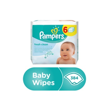 Pampers Fresh Clean Baby Wipes  4+2  384 Count