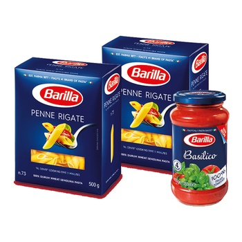 Barilla Penne Rigate 2x500g + Basilico 400g