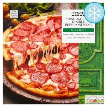 Tesco Stone Baked Thin Double Pepperoni Pizza 330g