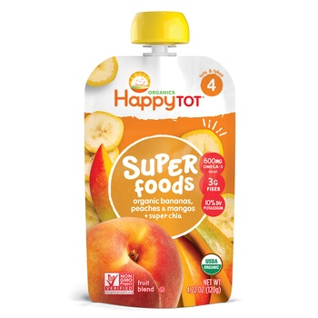 Happy Tot Organics Superfoods Stage 4 Organic Bananas, Peaches & Mangos + Super Chia 120g Pouch