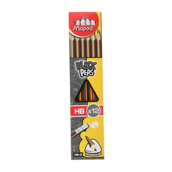 Maped Black Peps HB Pencil with Eraser- 12 pc Box