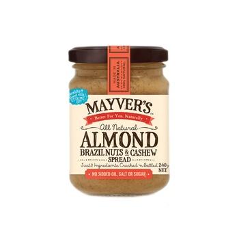 Mayvers Almond Brazilnuts & Cashew Spread 240g