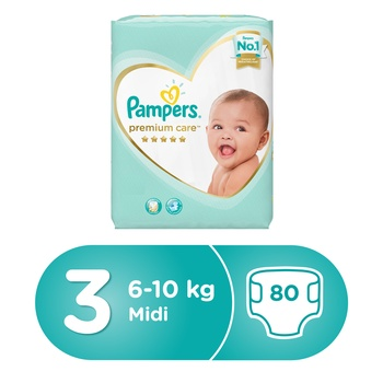 Pampers Premium Care Diapers  Size 3  Midi  5-9 kg  Jumbo Pack  80 Count