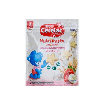 Nestle Cerelac NutriPuffs From 10 Months With Strawberry and Banana Bag 50 g
