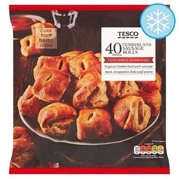 Tesco Frozen 40 Cumberland Sausage Rolls 800g