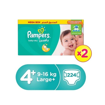 Pampers Active Baby-Dry Diapers, Size 4+, Large +, 9-16 Kg, Value Pack, 2X40 Diapers
