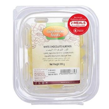 Goodness Foods  White Chocolate Almonds 200g