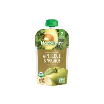 Happy Baby Organics Clearly Crafted Stage 2 Apples, Kale & Avocados 113g Pouch