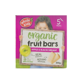Wholekids Organic Fruit Bars Apple & Blackcurrant 200g