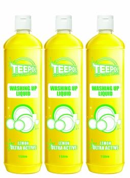Teepol Washing Up Liquid Lemon 3 X 1 ltr