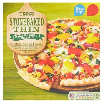 Tesco stone baked thin medium vegetable pizza 390g