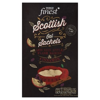 Tesco Finest Scottish Oat Sachets Red Skin Apple Flame Raisins Cinnamon 344g