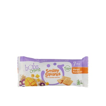 Bubs Organic Smiley Squares Rice and Quina Waffers Mango& Purple Carrot