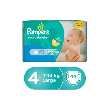 Pampers Active Baby-Dry Diapers, Size 4 Large, 7-18 Kg, Value Pack, 2X44 Diapers