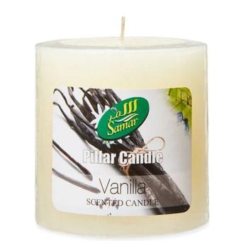 Samar Pillar Candle 7.5X7.5Cm Ivory-Vanilla