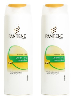 Pantene pro-v smooth and silky shampoo 400ml pack of 2