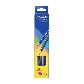 Pelikan HB Pencil 12 Pcs pack + Eraser + Sharpener