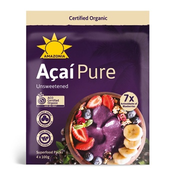 Amazonia Acai Pure Unsweetened Blend Superfood 100g