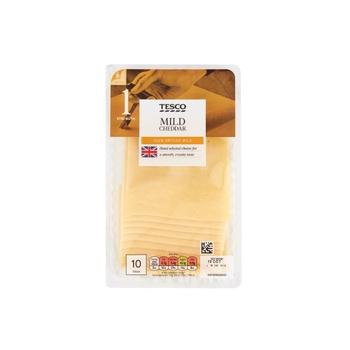 Tesco British Mild 10 Cheddar Slices 250g