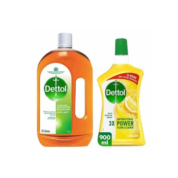 Dettol Anti-Bacterial Antiseptic Disinfectant 2 ltr + 900ml Multi Purpose Cleaner Pine Free