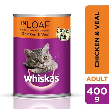 Whiskas Chicken and Veal in Loaf Wet Cat Food Can 400g