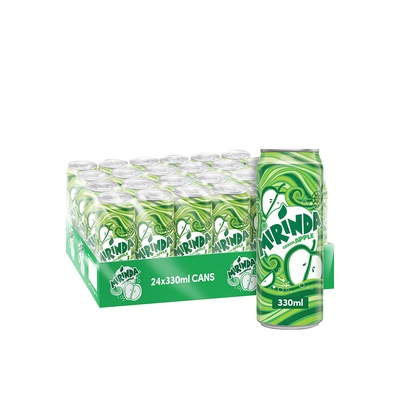 Mirinda green apple carbonated can soft drinks 330ml pack of 24