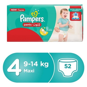 Pampers Pants Diapers Size 4 Maxi 9-14kg Jumbo Pack 52 Count
