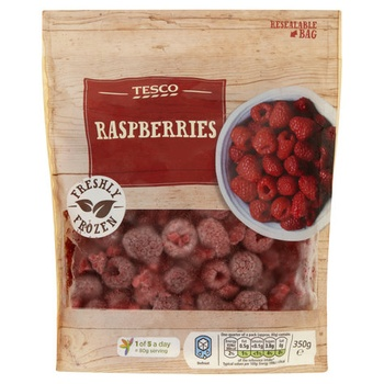 Tesco frozen raspberries 350 gm