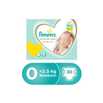 Pampers Premium Care Diapers, Size 0, Newborn, less 2,5 kg, Carry Pack, 30 Count