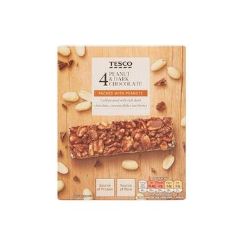 Tesco Peanut Dark Chocolate  Bars 4's  - 140gm Pack