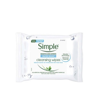 Simple WATER BOOST Hydrating Cleansing Wipes 25 Counts